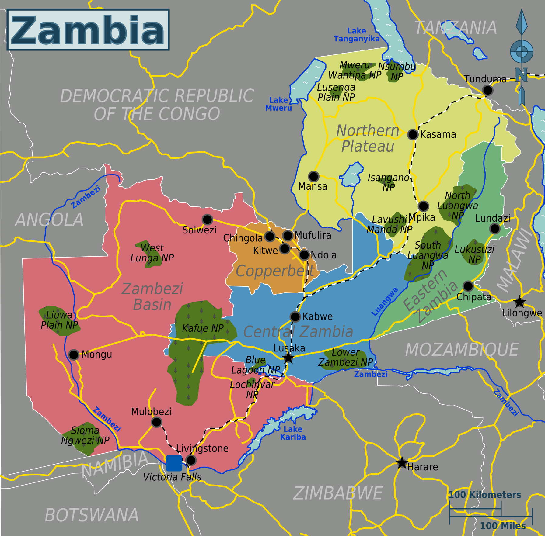 Lusaka Co Zm: Zambia Map Copperbelt