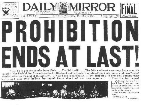 Prohibition Repeal Headline