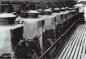 NCF Extraction Battery for processing coca leaf,  reproduced with courtesy from Hans Bosman's thesis p. 397