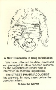 Einstein holds up an envelope containing his street drug analysis results, reflecting Up Front's idea that given the facts, intelligent drug users would make smart choices. (In fact, results were not mailed out. To preserve anonymity, people made up a 5-digit code to accompany their sample, then called the office, recited their five digits, and got their results.)