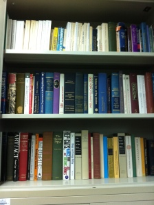 A portion of David Musto's personal library on the shelves in Shanghai