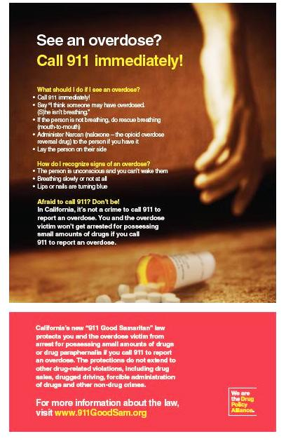 Drug Policy Alliance poster for a state Good Samaritan Law, an example of recent state-based public health interventions to reduce opiate overdose deaths.