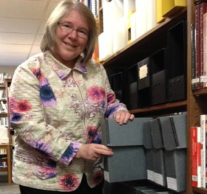Barbara Weiner showcases the Journal of Inebriety archive in Hazelden's Center City, Minnesota, library.
