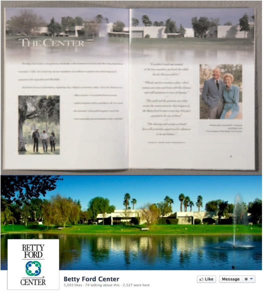 Betty Ford Center brochure and Facebook page