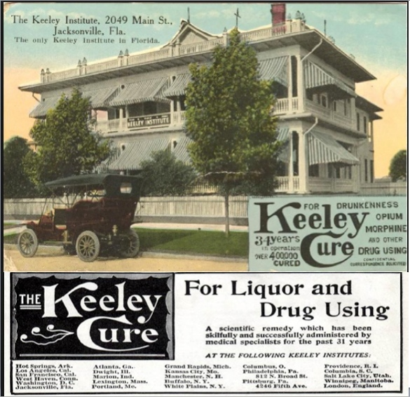 Keeley Institute, Jacksonville FL advertisement and Keeley Cure franchises ad