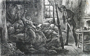 """""""In the Court,"""" Luke Fildes' illustration of the opium den in Charles Dickens's """"The mystery of Edwin Drood"""" (1870)."""