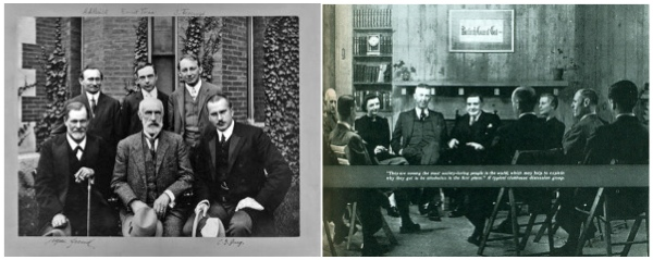 Sigmund Freud, G. Stanley Hall, Carl Jung,  Abraham A. Brill, Ernest Jones, and Sandor Ferenczi at Clark U in 1909; Bill Wilson and fellow AA members in 1941