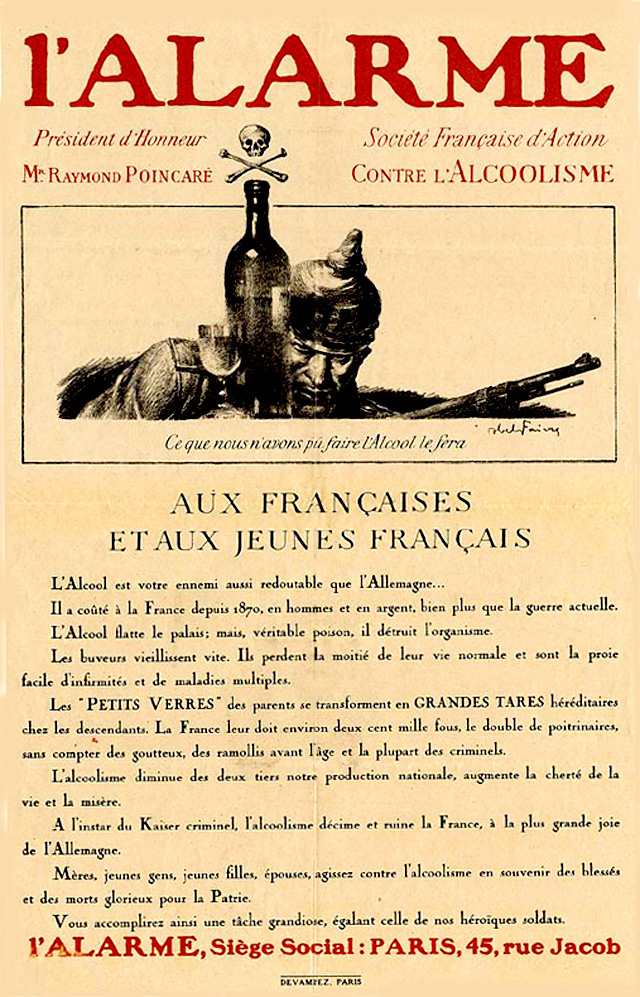 This message from the French president calls on the French populace, including women, to battle a postwar epidemic of alcoholism. This is depicted as a threat to France as grave as that once posed by Germany.