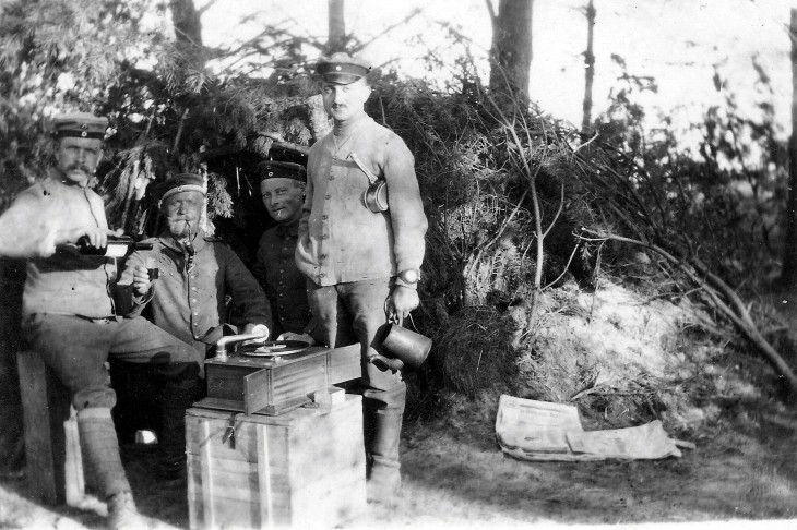 This 1916 photo shows artillerymen enjoying wine, tobacco, and music in a forest somewhere on the Eastern Front.  Source: http://www.europeana1914-1918.eu/en/contributions/4168