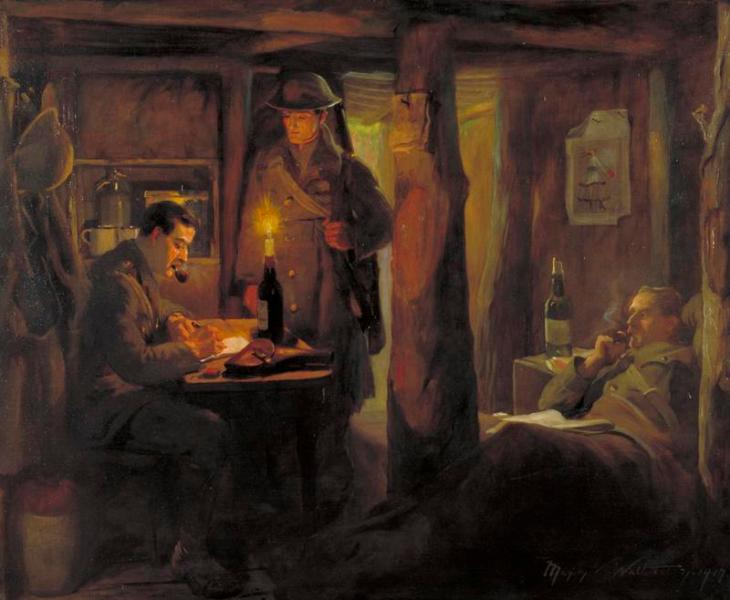 The Dispatch (The Captain's Dugout) by  Marjory Watherson, 1917. This painting emphasizes the association of pipe smoking with the officer class. Image © IWM (Art.IWM ART 5199)
