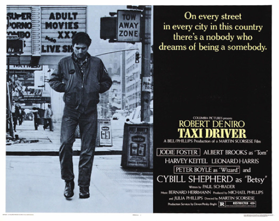 Taxi Driver (Directed by Martin Scorsese; Columbia, 1976) features Robert DeNiro as the now-iconic disturbed Vietnam veteran, Travis Bickle