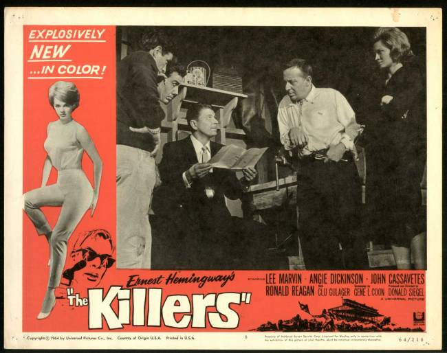 "In Ronald Reagan's (center) last dramatic role, he played a villain who gets his just desserts in an adaptation of Ernest Hemingway's ""The Killers."" (1964, via movieposterexchange)"