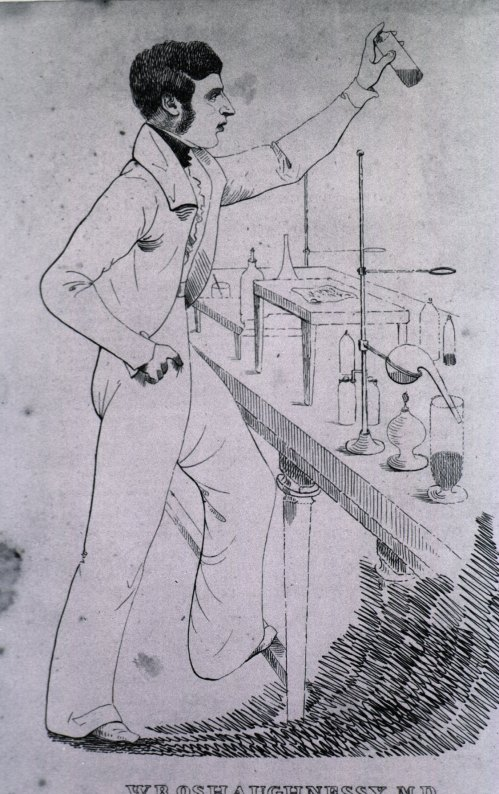 W. B. O'Shaughnessy, M.D.  Located at The National Library of Medicine, Images from the History of Medicine Collection, Lithograph Print, n.d., Order No. B020160.  This image of the Irish doctor who first experimented with Indian hemp as a medicine in Calcutta does not have a date, but the style of penmanship suggests that it is a twentieth century invention rather than a nineteenth century one.  O'Shaughnessy did indeed become a recognized individual during his duration as an employee of the EIC, but it was due less to his contributions as a chemist than it was to his work on the telegraph system in India.  There certainly were a number of publications over the course of the nineteenth century that cited his work with Indian hemp, but his national biography failed to even mention this part of his life, which took place in the early stages of his career.  Today, there is a sort of cult following around his memory, with often fantastical descriptions of his accomplishments and intellectual capabilities accompanying the descriptions of his work with the hemp plant.  An excellent example of this cult following is the online publication, O'Shaughnessy's Online, which can be accessed at: http://www.beyondthc.com/about/.