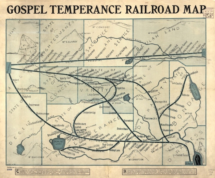 G.E. Bula, Gospel Temperance Road Map, 1908 (Library of Congress)