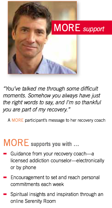 Clipping from Hazelden's MORE program pamphlet. The program offers coaching for clients in early recovery.