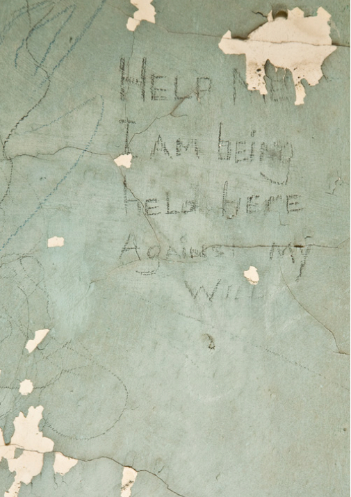 "Graffiti from North Brother Island. They read: ""Help me. I am being held here against my will."" ""I did 30 days in seclusion."""