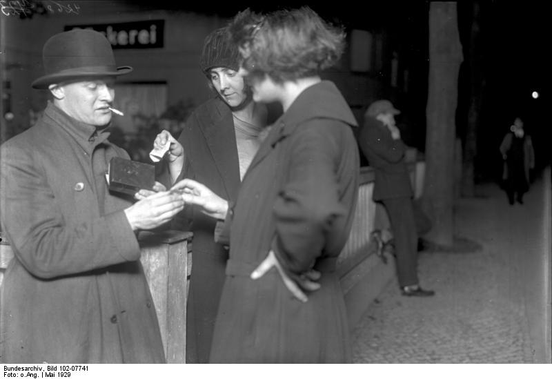 "Prostitutes purchase cocaine from ""Emil."" May 1929. Bundesarchiv Bild, Creative Commons License."