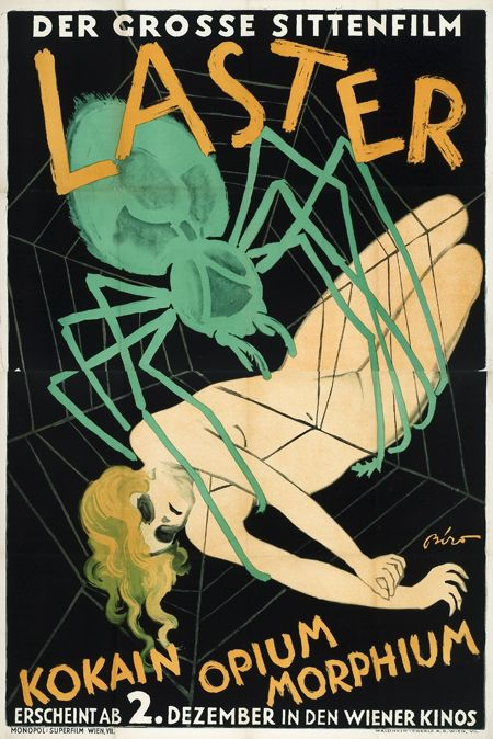 "Poster for the silent film ""Laster der Menschheit"" (Vice of Humanity), 1927."