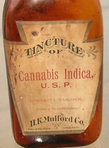 H K Mulford Tincure of Cannabis Indica Label Close Up