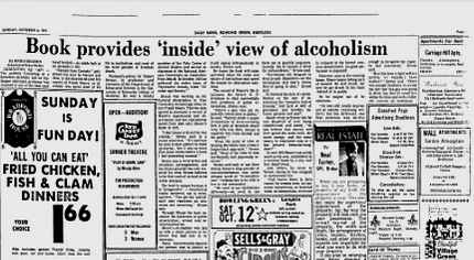 """Book Provides 'Inside' View of Alcoholism"" Daily News, Bowling Green Kentucky, October 4, 1974 (via Google News)"