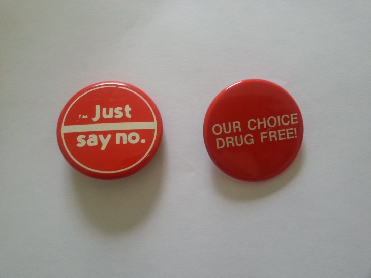 "My ""Just Say No"" buttons from elementary school. Joy!"