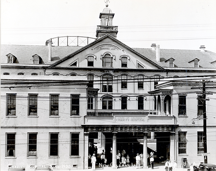 The entrance to Charity Hospital, 1935