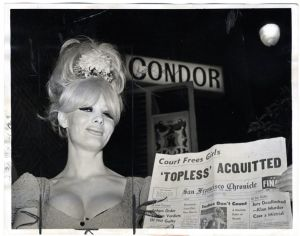 Carol Doda in front of the Condor Club, North Beach, ca. May 1965 (Google Images)