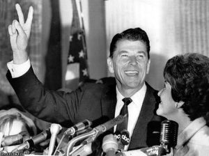 Ronald Reagan after winning the 1968 election for Governor of California (SFGate.com)